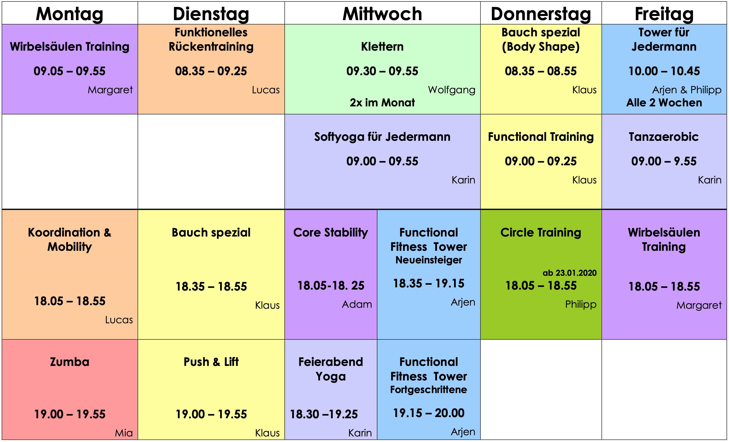 Kursplan Medizinisches Trainingszentrum Judenburg